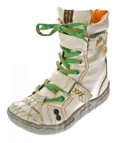 TMA »Winter Stiefelette TMA 7087-N Leder Schuhe Stiefel« Stiefelette Gefüttert, Antik bzw. Used Look, Zeitungsdruck, Klettverschlüsse