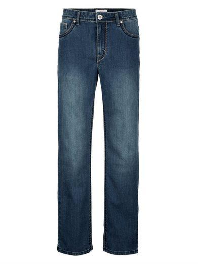 Boston Park 5-Pocket Jeans mit Sattlernähten in Kontrast