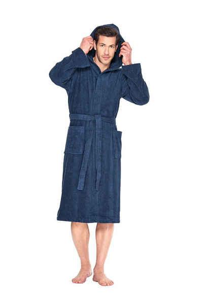 Bademantel »Saunamantel Unisex mit Kapuze«, Wewo fashion, aus 100% Baumwolle, Walkfrottier, Länge ca. 125cm, kuschelig weich