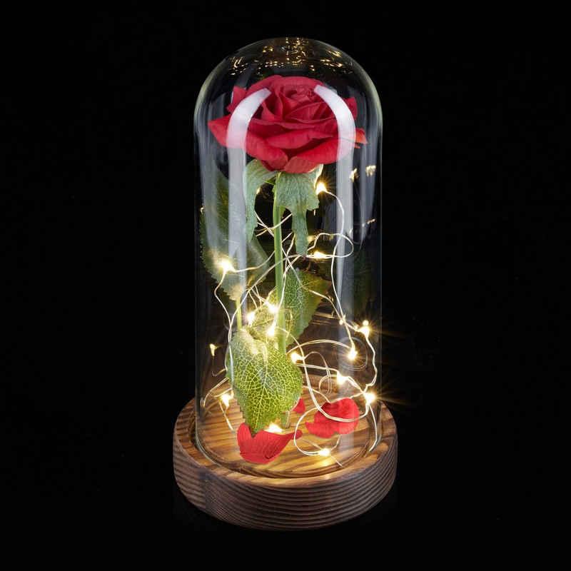 Kunstblume »Ewige Rose im Glas mit Licht«, relaxdays, Höhe 22 cm