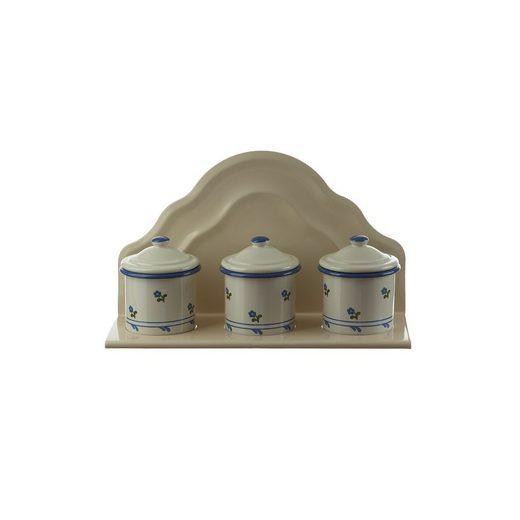 Neuetischkultur Wandregal »Wandhänger mit 3 Behältern Retro«, 4-tlg., Wandregal für 3 Behälter