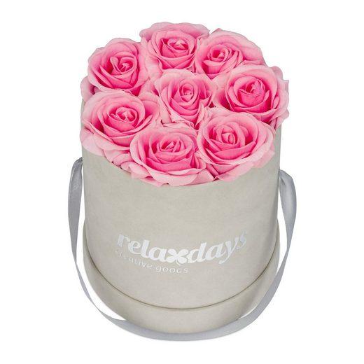 Kunstblume »Graue Rosenbox rund 8 Rosen«, relaxdays, Höhe 17 cm