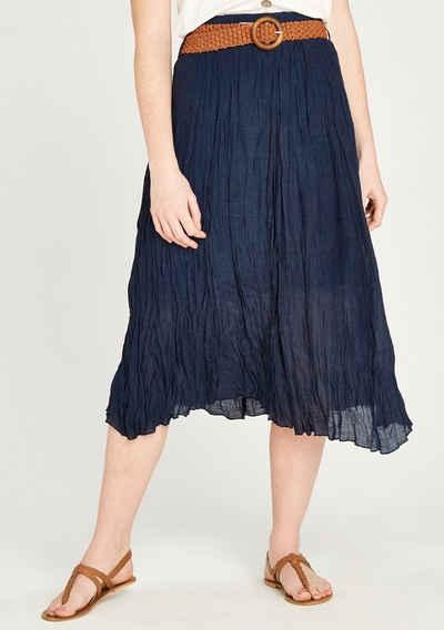 Apricot Maxirock »Shimmer Crinkle Belted Skirt« (2-tlg., mit abnehmbarem Gürtel) mit Flechtgürtel