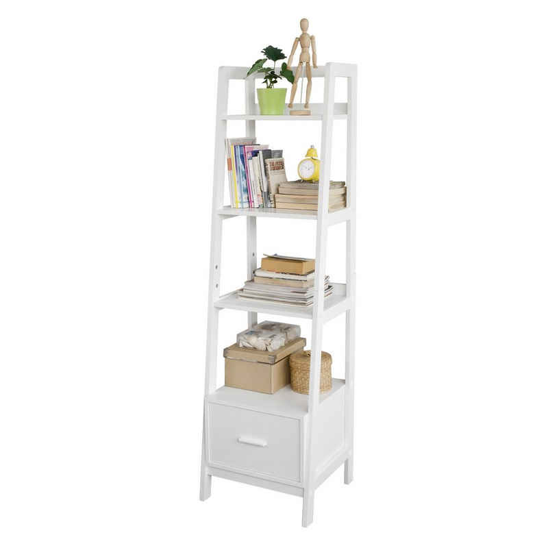 SoBuy Leiterregal »FRG116«, Bücherregal Standregal Badregal mit Ablagen und Schublade in Weiß