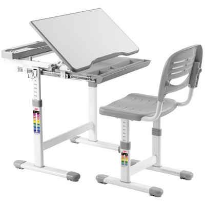 COSTWAY Kinderschreibtisch »Schülerschreibtisch, Kindertisch, Schreibtisch Kinder«, mit Stuhl, höhenverstellbar, neigungsverstellbar, Grau