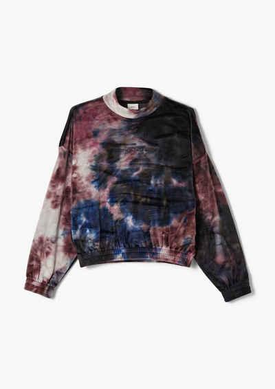 s.Oliver Sweatshirt »Nicky-Sweatshirt in Batik-Optik« (1-tlg) Rippblende, Stickerei, Raffung