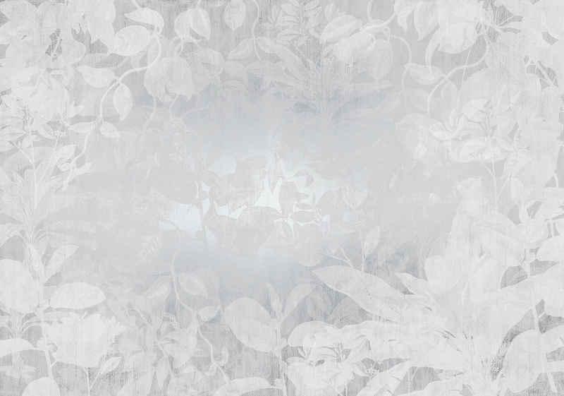 Komar Fototapete »Flora«, glatt, floral, schimmernd, Silber-Optik, (Packung)