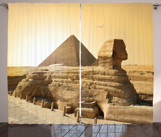 Gardine »Schlafzimmer Kräuselband Vorhang mit Schlaufen und Haken«, Abakuhaus, altertümlich Egptian Pyramiden