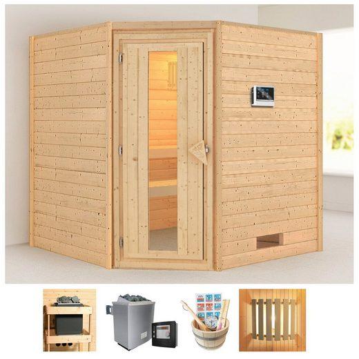 KARIBU Sauna »Nina«, 196x196x198 cm, 9 kW Ofen mit ext. Steuerung, Energiespartür
