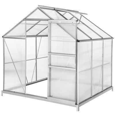 tectake Gewächshaus »Gewächshaus mit Fundament«, 4.0 mm Wandstärke, Fundament, Wandverkleidung, Dachfenster, Schiebetür, UV resistent