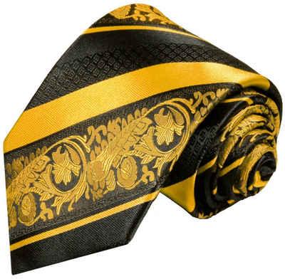 Paul Malone Krawatte »moderne Herren Seidenkrawatte barock gestreift 100% Seide« Breit (8cm), gold 495