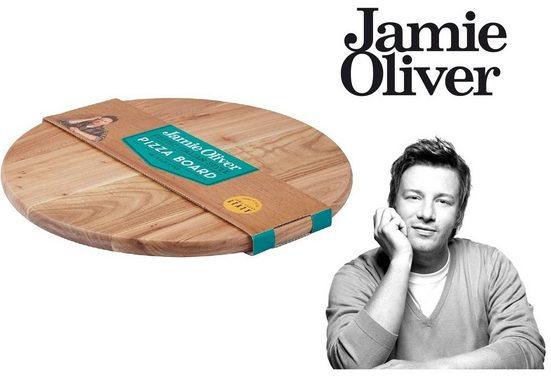 JAMIE OLIVER Pizzaschneidebrett »Original Jamie Oliver Schneidebrett Pizzabrett Rustic rund Ø 36cm«, Ulmenholz