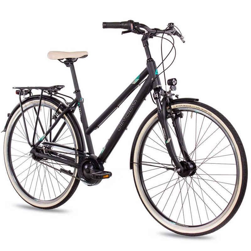 Airtracks Cityrad »Damen City Fahrrad 28 Zoll CI.2820L«, 7 Gang SHIMANO NEXUS Schaltwerk, Nabenschaltung, Schwarz Matt - Rahmenhöhen 48cm und 52cm » Modeljahr 2021 «