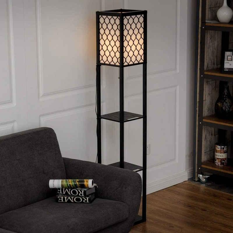 COSTWAY Stehlampe »Stehleuchte Regal Standleuchte«, mit 3-Ebenen