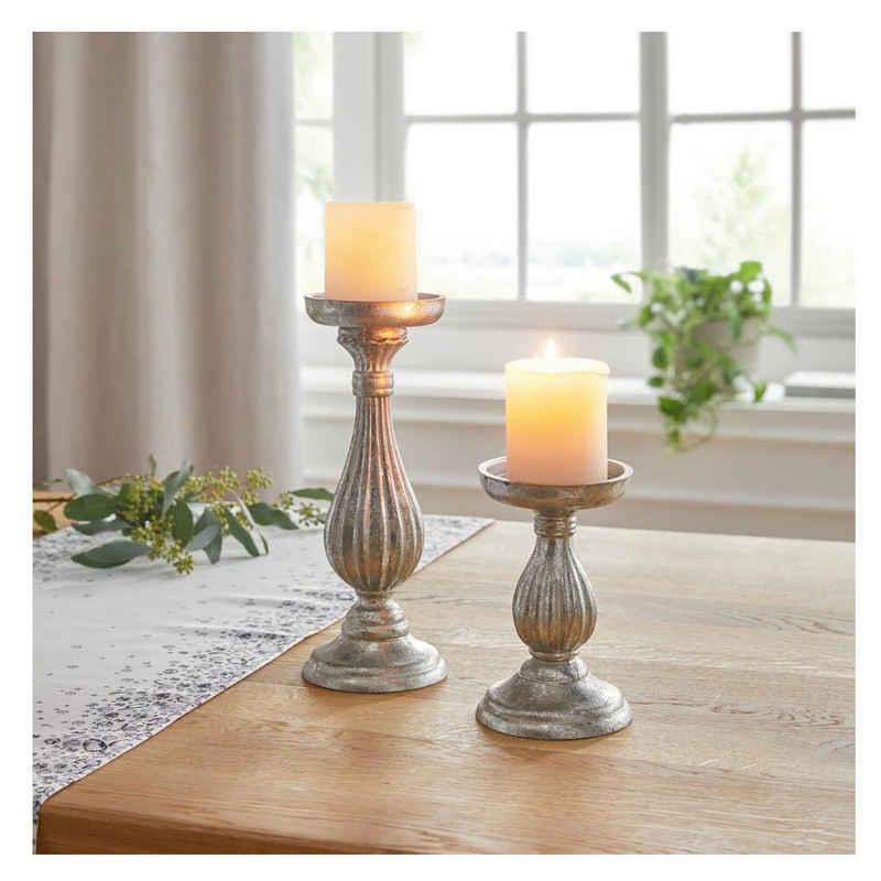 Home-trends24.de Kerzenhalter »Kerzenhalter Halter Kerzenständer Deko Windlicht Silber Kerzen Holz Antik 2er Set«