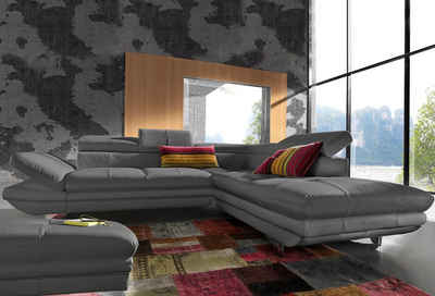 COTTA Polstergarnitur, (Set), inklusive Kopfteilverstellung, wahlweise mit Bettfunktion und RGB-LED-Beleuchtung, Hocker und Sofa im Set