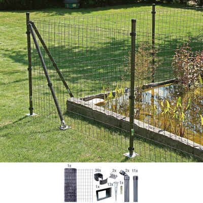 GAH Alberts Schweissgitter »Fix-Clip Pro®«, (Set), 81 cm hoch, 25 m, anthrazit beschichtet, mit Bodenhülsen