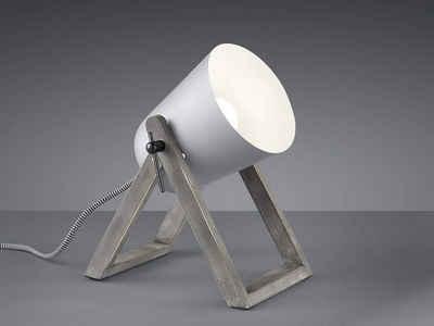 TRIO LED Tischleuchte, kleine Tisch-Lampe E27 Holz-fuß & Metall Lampen-Schirm für Wohnzimmer, Fensterbank, Schlafzimmer, Schreibtisch