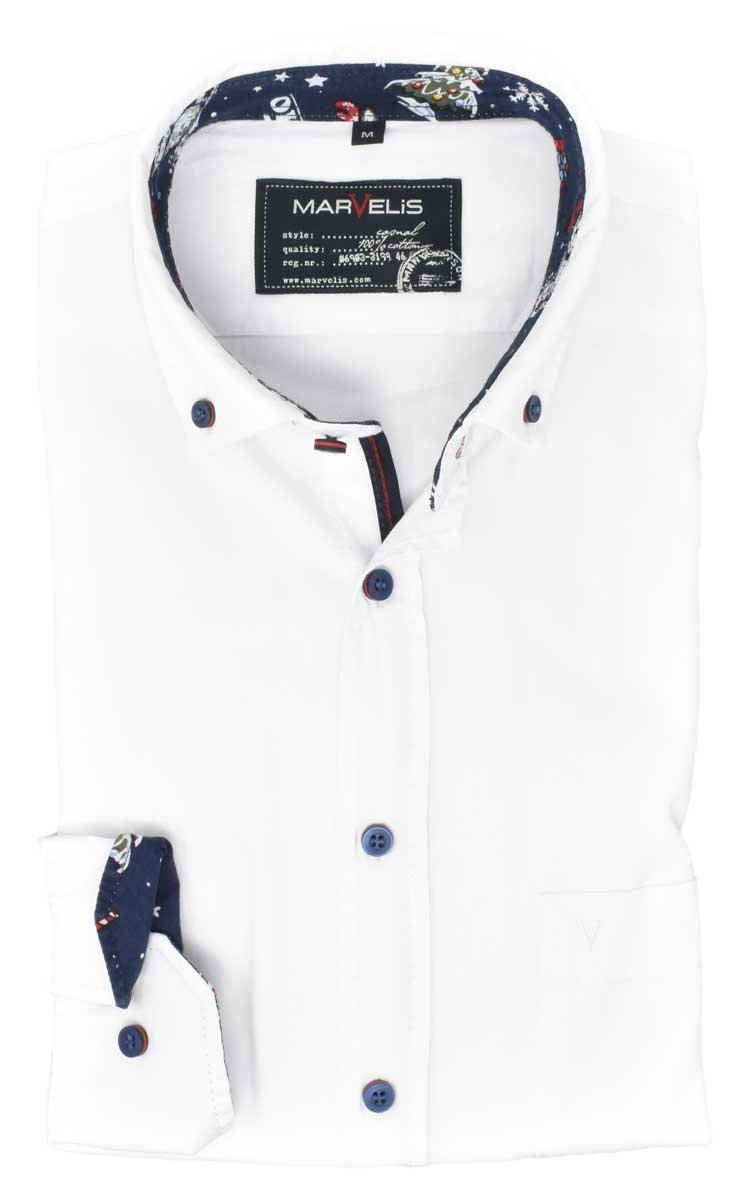 MARVELIS Langarmhemd »Freizeithemd - Casual Fit - Langarm - Einfarbig - Weiß« mit Besatz (Weihnachtsmotiv) und Kontrastknöpfen