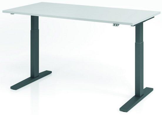 bümö Schreibtisch »OM-XMKA16«, elektrisch höhenverstellbar - Rechteck: 160x80 cm - Dekor: Grau