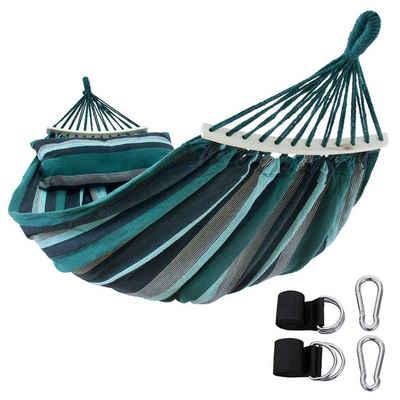 yourGEAR Hängematte »yourGEAR Bali Smaragd - Hängematte 220 x 120 cm 240 kg Baumwolle Stabhängematte, Kissen, Befestigung-Set«