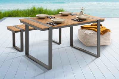 riess-ambiente Gartentisch »TAMPA LOUNGE 123cm natur / schwarz«, Polywood · Esstisch · Modern Design · Metall