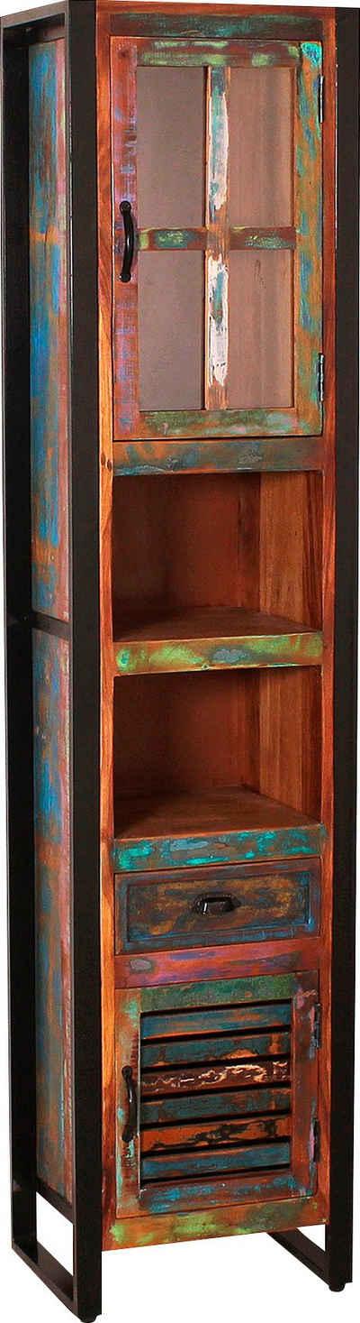 SIT Hochschrank Gefertigt aus bunt lackiertem Altholz