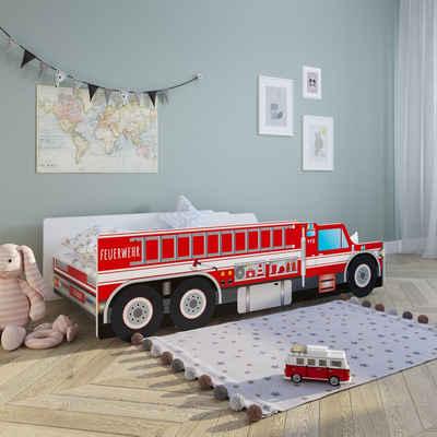 """Kids Collective Autobett »Kinderbett Feuerwehr in 70x140 und 80x160 cm, optional mit Matratze«, Spielbett mit abgerundeten Kanten, """"Made in Europe"""", in zwei Größen: 140x70 und 160x80, bis 10 Jahre"""