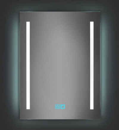 LuxNice Badspiegel »Baldur«, LED Spiegel mit Beleuchtung, zusätzliche Hintergrundbeleuchtung, Touch, IP44, Kaltweiß
