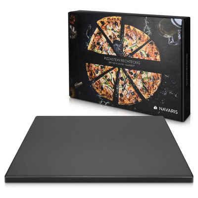 Navaris Pizzastein, Schamottstein, XL für Backofen Grill aus Cordierit - Pizza Stein Ofen Flammkuchen - Gasgrill Holz-Kohle Herd Teller rechteckig 38x30cm - glasiert
