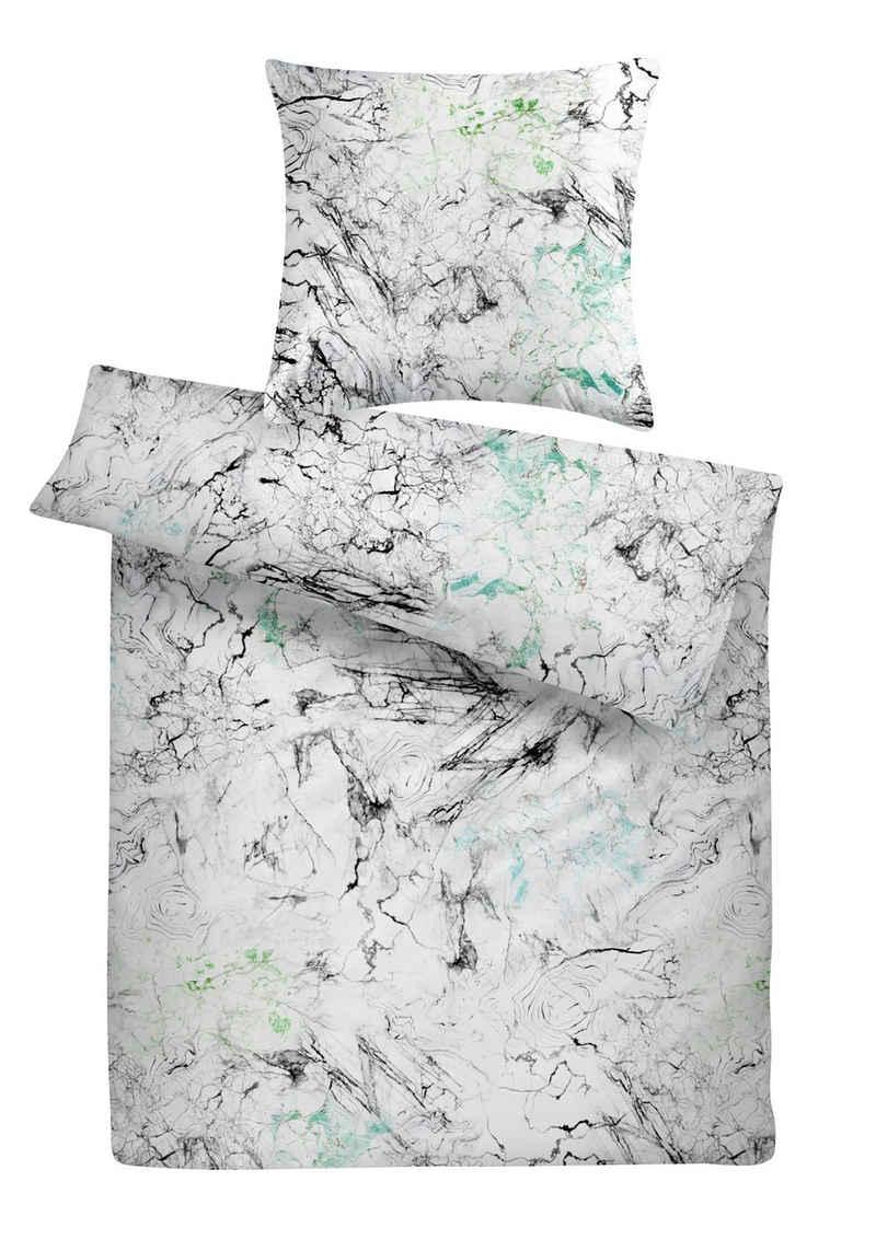 Bettwäsche »Luxus Mako Satin Marmor Bettbezug aus feinster Baumwolle«, Carpe Sonno, Hochwertige seidenartige Mako Satin Bettwäsche der Spitzenklasse, Bettgarnitur im trendigen Marmor-Design, Ganzjahresbettwäsche, angenehm kühle Bett-Wäsche, weich auf der Haut, edler Bettbezug für hohen Schlafkomfort