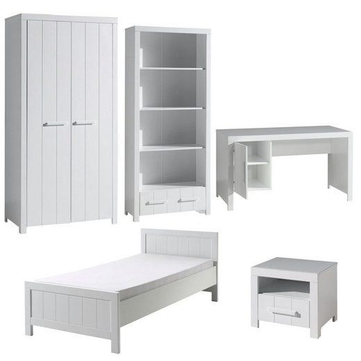 Kindermöbel 24 Jugendzimmer-Set »Jugendzimmer Akira Bett+Nachtkon.+Kleiderschr.+Schreibt.+Regal«