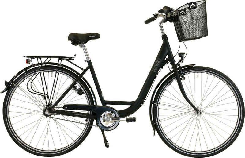HAWK Bikes Cityrad »HAWK City Wave Premium Plus Black«, 3 Gang Shimano Nexus Schaltwerk