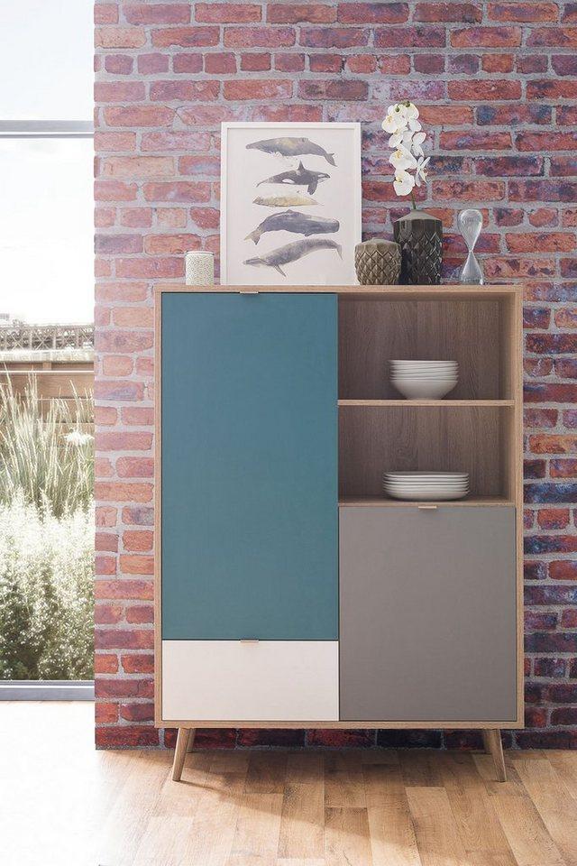 Newroom Highboard Jona Kommode Sonoma Eiche Modern Schrank Sideboard Skandinavisches Design Wohnzimmer Schlafzimmer Flur Esszimmer online kaufen