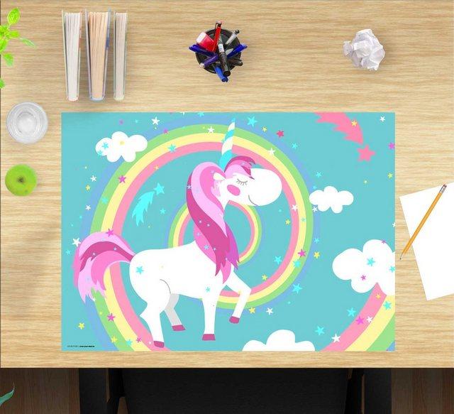 Kindertische - cover your desk.de Schreibtischaufsatz »Schreibtischunterlage für Kinder – Einhorn mit Regenbogen – 60 x 40 cm – aus hochwertigem Vinyl«, (1 St)  - Onlineshop OTTO