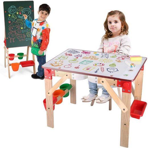 Arkmiido Standtafel »Staffeleien Kindertafel«, (Tischstaffelei), 2 in 1 Magnettafel Multifunktionale mit Aufbewahrungskiste Zubehör