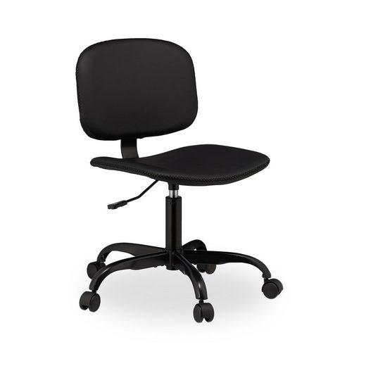 relaxdays Schreibtischstuhl »Schreibtischstuhl schwarz mit Rollen«