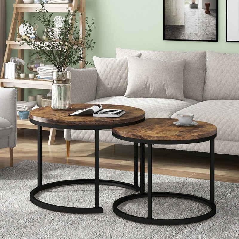Merax Couchtisch »Juno«, Set rund aus Holz Satztisch Wohnzimmertisch im Industrial Minimalistisch Design 1,5 cm Platte