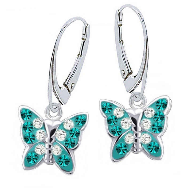 Goldene Hufeisen Paar Ohrhänger »Mädchen Kristall Schmetterling Brisur Ohrringe aus 925 Sterling Silber« (1 Paar, inkl. Etui), Damen Kinder Ohrschmuck