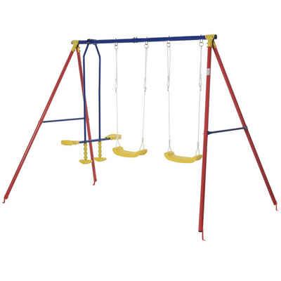Outsunny Doppelschaukel »Kinderschaukel mit 2 Schaukeln und einer Wippe«