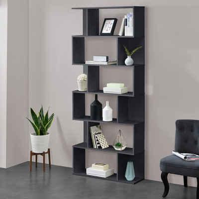 en.casa Bücherregal, »Oxford« Design Hängeregal mit 6 Ablagen Raumteiler 192x80x24cm dunkelgrau