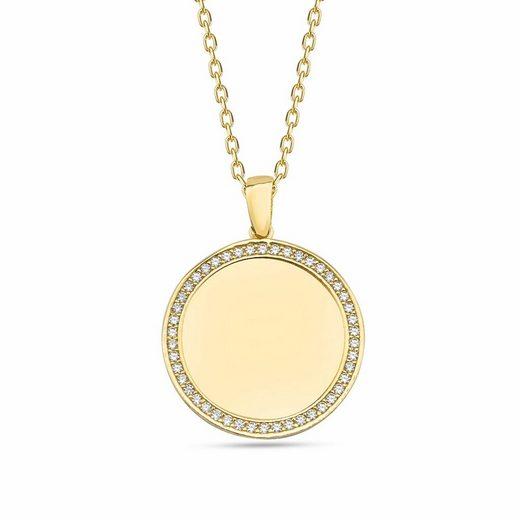 dKeniz Anhänger mit Kette »925/- Sterling Silber vergoldet Kreis Plättchen«