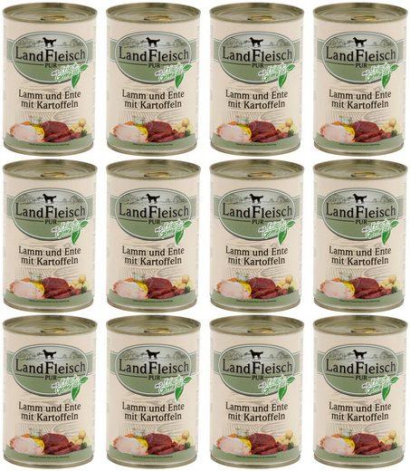 LANDFLEISCH Hundenassfutter »Pur Lamm, Ente und Kartoffel«, 12 Dosen á 400 g