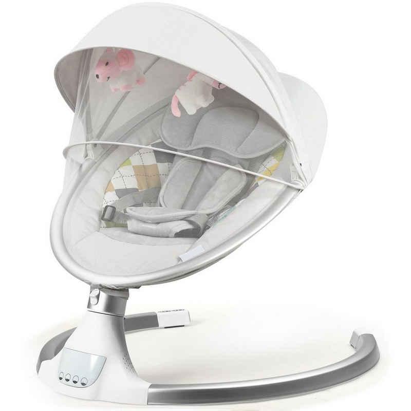 COSTWAY Babywippe »Babywippe«, mit 5 Schwingungsamplituden und Musik, Baby Schaukelstuhl mit Timing- und Bluetoothfunktion, inkl. Spielzeug, Fernbedienung, abnehmbares Verdeck und Moskitonetz