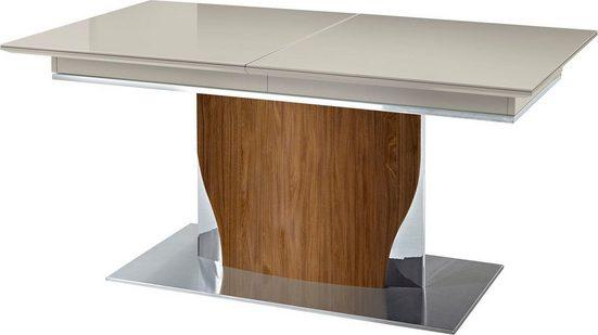 LEONARDO Esstisch »CURVE«, ausziehbar, inklusive 2 Einlegeplatten, Säule in Nussbaum, in 2 Breiten