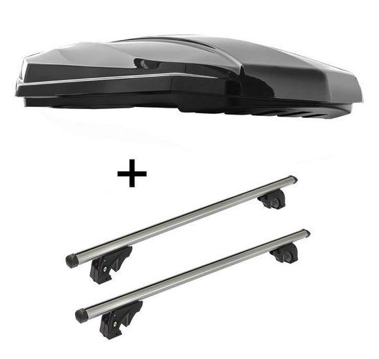 VDP Fahrradträger, DACHBOX STRIKE 440 Liter schwarz hochglanz + Dachträger/Relingträger VDPLION1 kompatibel mit Kia Clarus (5 Türer) 95-01