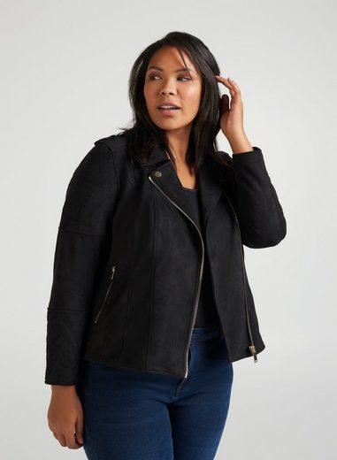 Zizzi Lederimitatjacke Große Größen Damen Kurze Jacke mit Taschen und Reissverschluss