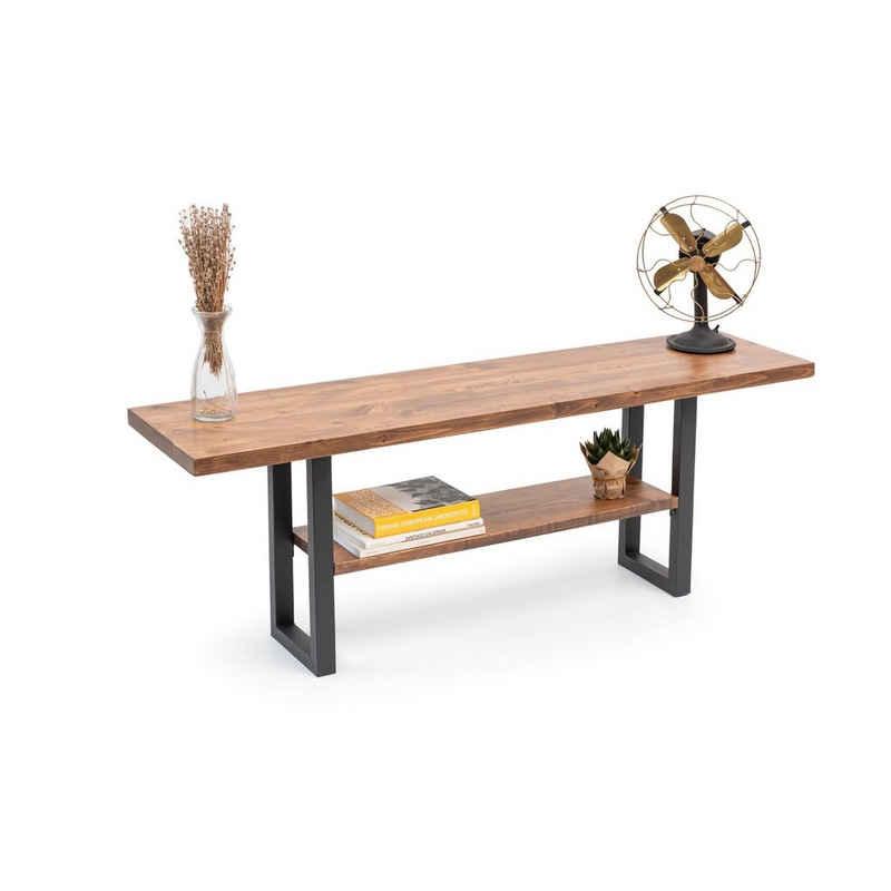Gozos Lowboard »Gozos TV-Lowboard massiv aus Kiefer - TV-Lowboard Holz in 35x140cm - Lowboard Retro mit schwarzen Füßen aus Metall - Einzelstück nach Landhausstil in Handarbeit gefertigt«