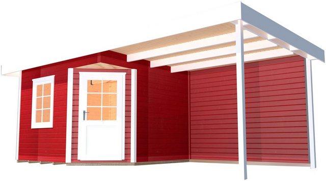 Weka Holz-Gartenhaus San Remo A Schwedenrot-Weiß 541 cm x 238 cm