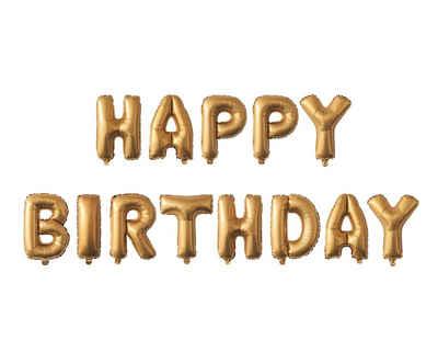 "MyBeautyworld24 Folienballon »Folienballon ""Happy Birthday"" in der Farbe gold Heliumballon 40 cm«"